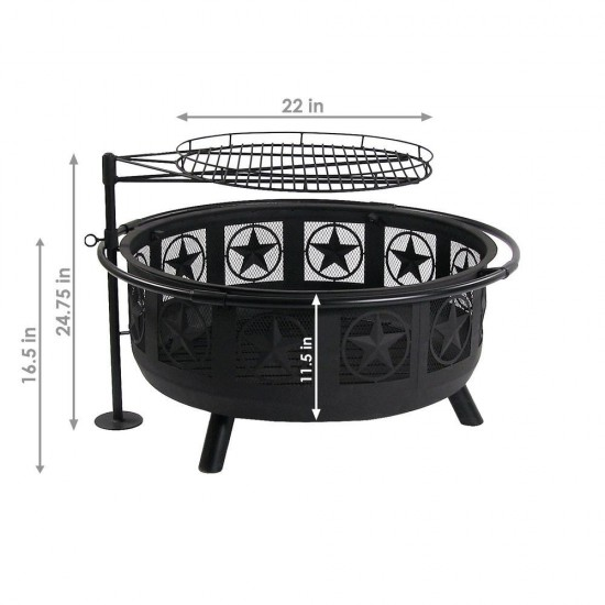 Outdoor Heating : 36 in. W x 22.5 in. H Round Steel Wood ...